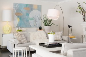 White living room with pastel accents - from Decoist.com